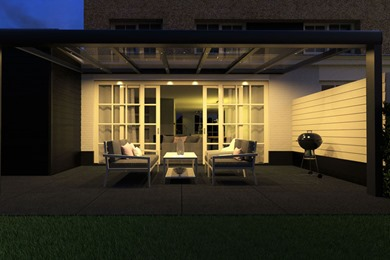 Avant-Garde Grey Glass Veranda at Night