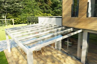Avant-Garde White Glass Veranda