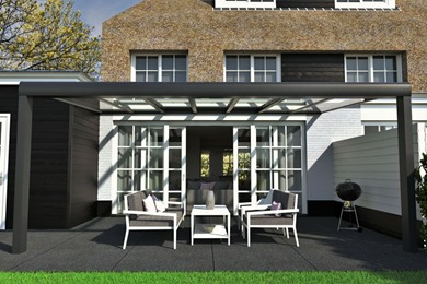 Avant-Garde Grey Glass Veranda