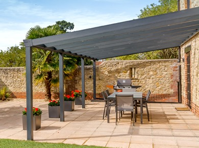 Anthracite Grey Veranda with Glass Roof