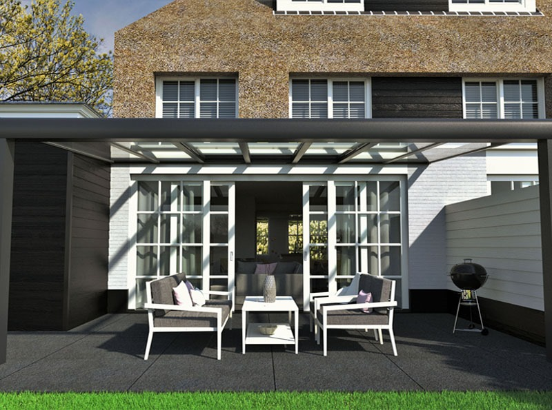 Avant-Garde Grey Glass Veranda
