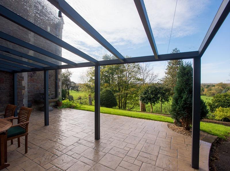 Anthracite Grey Aspire Veranda with Glass Roof