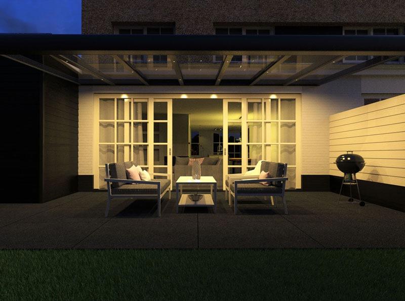Patio veranda at night