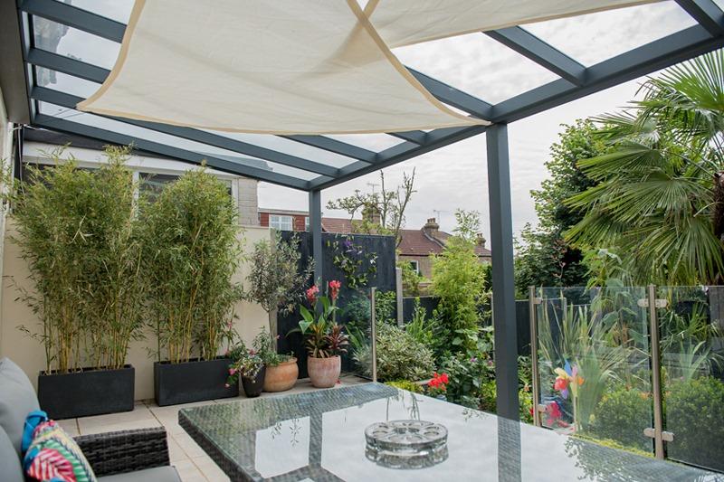 Colourful garden veranda